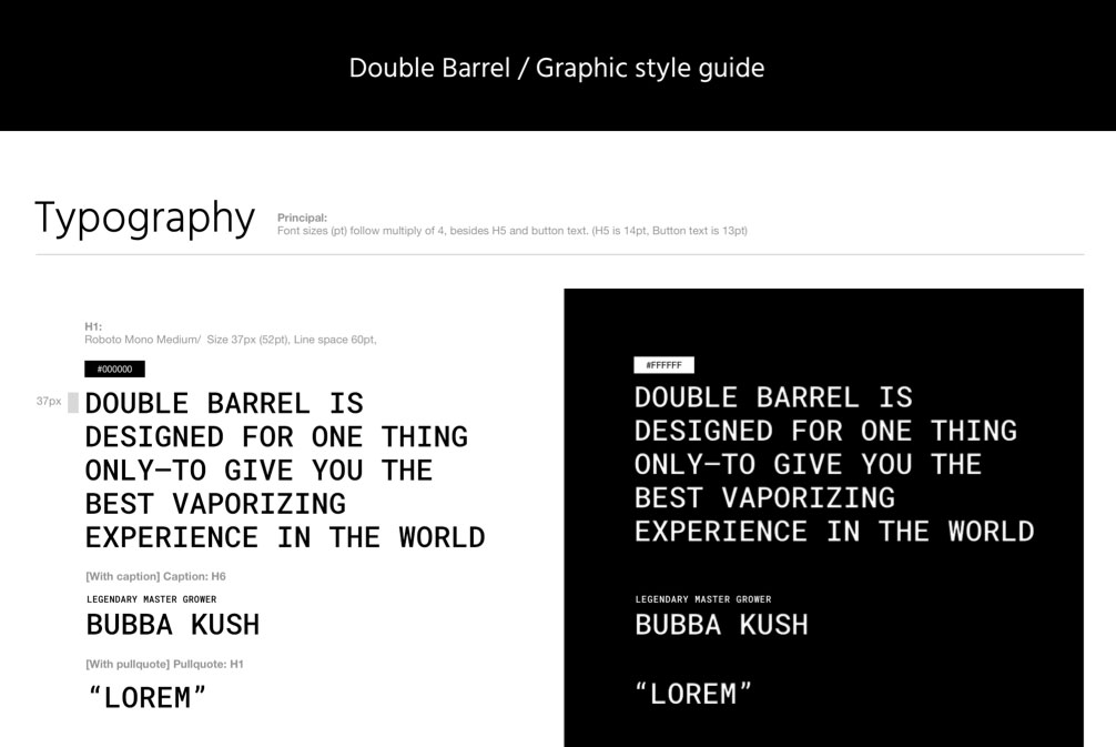 Double Barrel style guide by attck. Web design and development agency
