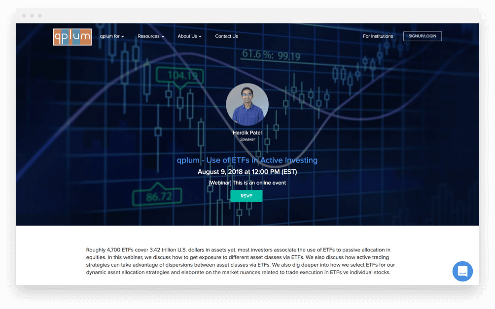Qplum investment page. ATTCK case study
